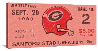 Best football gifts! Georgia won the 1980 National Title. This football art is made from an authentic 1980 Georgia football ticket. The best football gifts are at http://www.shop.47straightposters.com/1980-Georgia-Football-Ticket-Art-80GAClem.htm