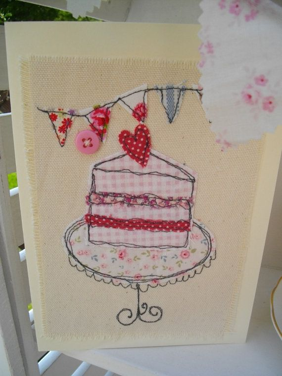 A gorgeous handmade card, sewn with quality fabrics onto heavy cream calico. Each card is handmade by me so no two cards will ever be the same,