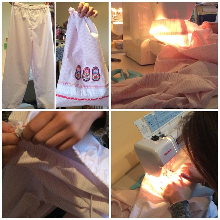 In school holiday workshop 11yr old student makes 2 pyjama pants and creates design for and sews a matching drawstring bag with appliqué.
