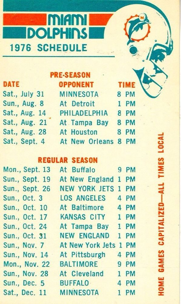 1976 #Miami Dolphins #Football Schedule Card from $2.0