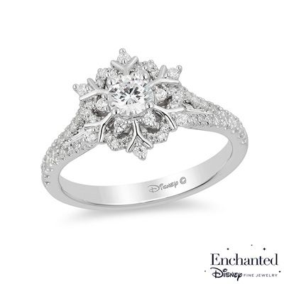 Enchanted Disney Elsa 5/8 CT. T.W. Snowflake Engagement Ring in 14K White Gold - View All Rings - Zales