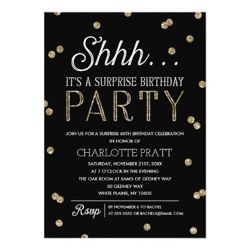 68 best 10th birthday party invitations images on pinterest happy shh surprise birthday party faux glitter confetti invitation stopboris Image collections