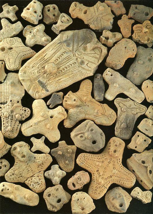 """Much """"DOGU"""" which were discovered in remains of Aomori. Jomon-era. BC.3,500 - BC.2,500. Aomori Japan."""