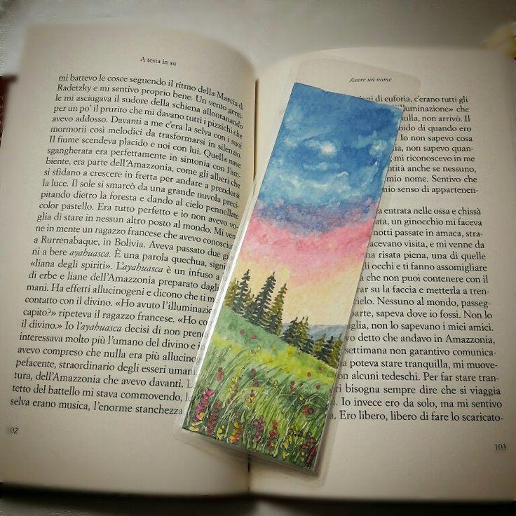 Segnalibro dipinto tecnica acquerello su carta Cotman gran fin