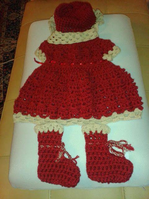 Handcraft Worx - Newborn girl's Red Ruby dress set - front  $35 SOLD