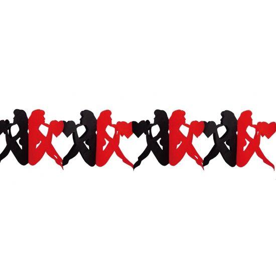 Deze rood met zwarte slinger heeft een lengte van 3 meter, is gemaakt van papier en bevat papieren vrouwen met hartjes van ca. 18 x 26 cm.