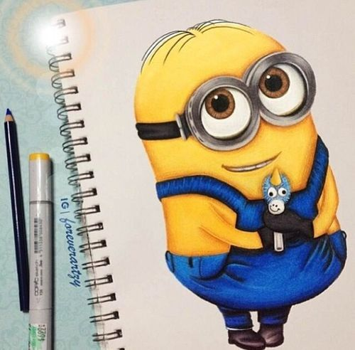 how to draw a cartoon minion