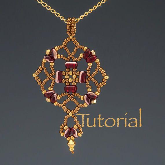 Beadwoven colgante Tutorial Tulipan Digital por JewelryTales