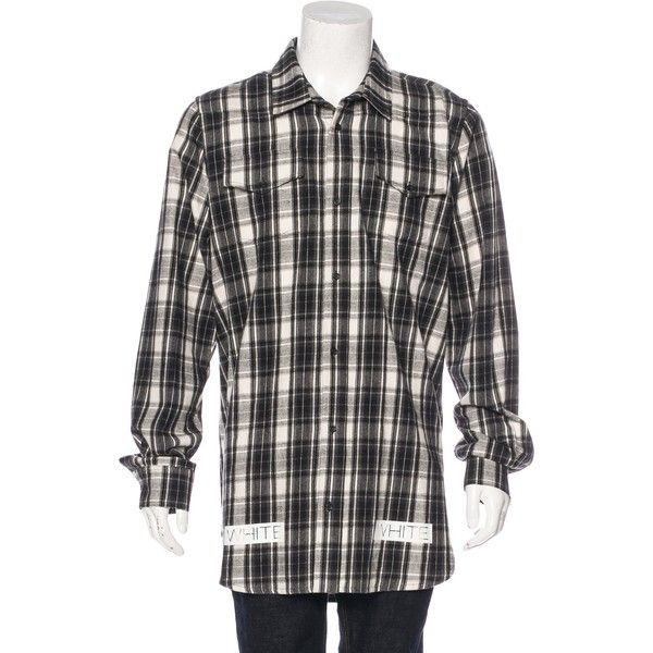 Pre-owned Off-White Tartan Plaid Flannel Shirt ($395) ❤ liked on Polyvore featuring men's fashion, men's clothing, men's shirts, men's casual shirts, black, mens flannel shirts, mens flannel plaid shirts, mens plaid button down shirts, men's flannel button down shirts and off white mens dress shirt