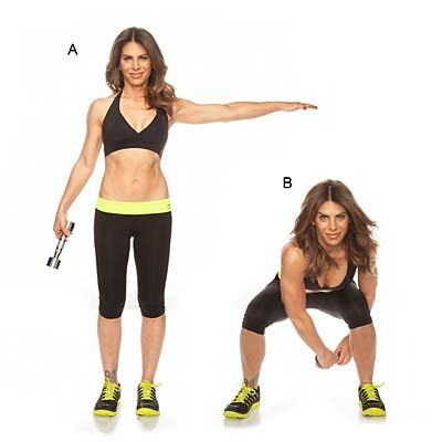 side squat w/ figure 8: Stand with feet hip-width, a 5- to 8-lb dumbbell in right hand, left hand extended to side at shoulder height     Step out to left as you lower into a squat, and pass dumbbell under left leg to left hand, and around left knee.     In one fluid movement, pass dumbbell under right leg to right hand; continue alternating.
