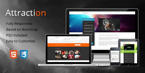 Attraction is a responsive one-page/multi-page landing page, built for promoting and selling products, services or events.