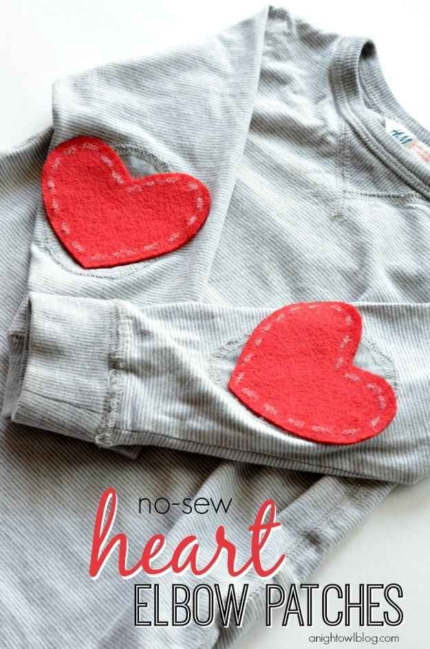 Wear your heart on your sleeve with this no-sew project.   41 Awesomely Easy No-Sew DIY Clothing Hacks