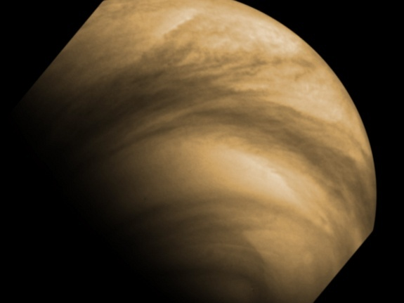 False-colour image of cloud features seen on Venus by the Venus Monitoring Camera (VMC) on Venus Express. The image was captured from a distance of 30 000 km on Dec. 8, 2011. The VMC was designed and built by a consortium of German institutes lead by the Max-Planck Institute for Solar System Research in Katlenburg-Lindau. Venus Express has been in orbit around the planet since 2006.