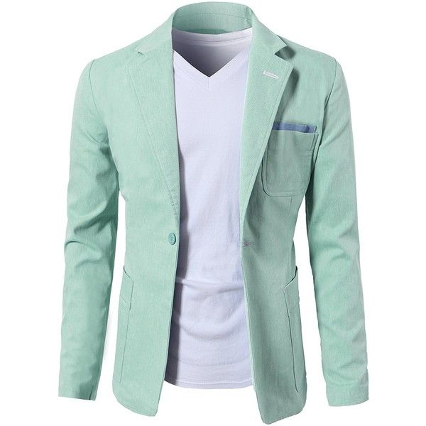 H2H Mens Fashion Slim Fit Single Button Flap Pockets Linen Blazer... (44 CAD) ❤ liked on Polyvore featuring men's fashion, men's clothing, men's sportcoats, mens one button blazer, mens single button blazer, linen mens clothing, mens slim blazer and mens blazers