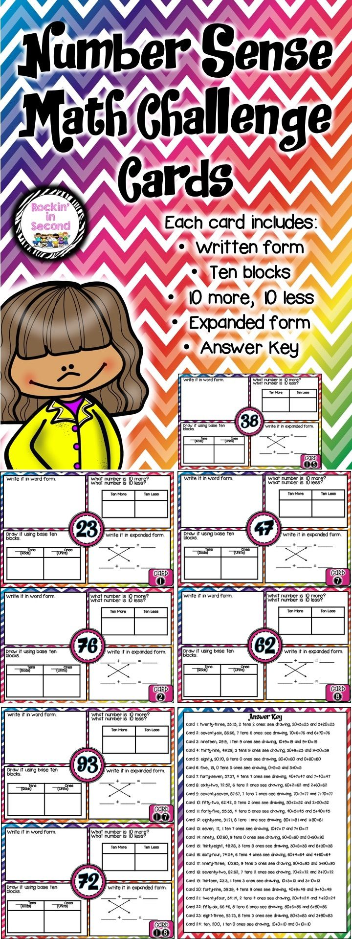 Number Sense Math Challenge Cards  This set includes 24 Math Challenge Cards. Each card includes: written form, expanded form, base ten blocks, and 10 more/10 less.  Use these cards for a whole group lesson, small group, individual, or when I am done activity.  Follow me on TPT for more exciting activities and FREEBIES!! All new products are 50% off for the first 24 hours.