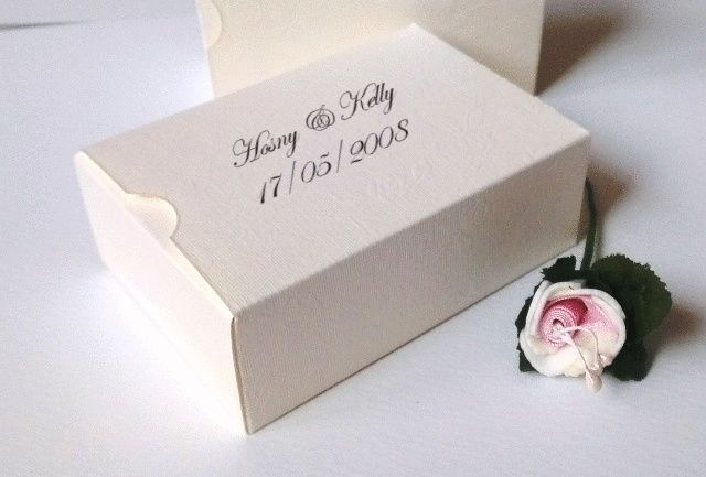 Ivory Personalised Wedding Cake Slice Sweet Favours Boxes Birthday Party Gift