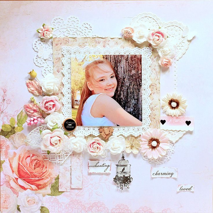 ~Always+Smile - Kaisercraft - Cottage Rose Collection achtergrond + Prima - Butterfly Collection