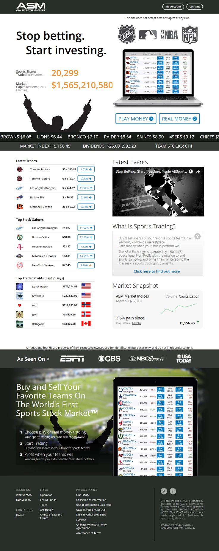 Buy & sell shares of your favorite sports teams in a 24-hour, worldwide marketplace. Earn money when your stocks perform well.