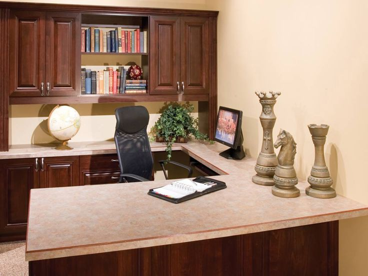 Nice use of cabinets closed and open upper and lower find this pin and more on home offices