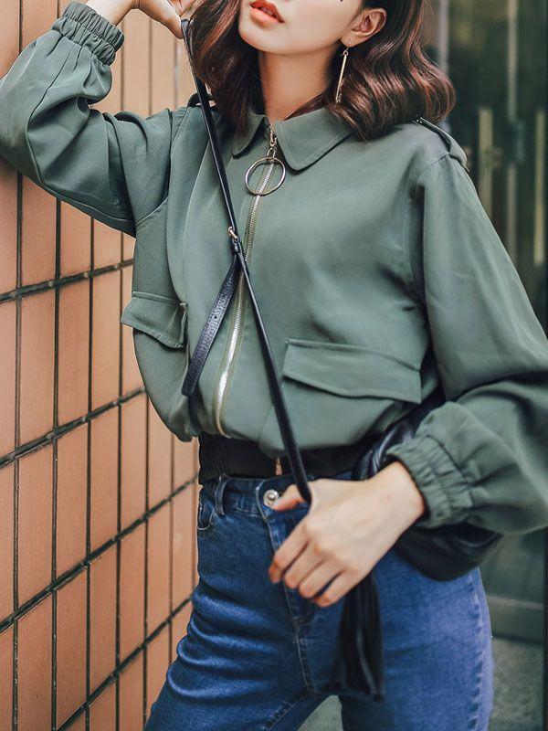 カーディガン - 素敵なレトロ無地パフスリーブ便利なポケットジャケット