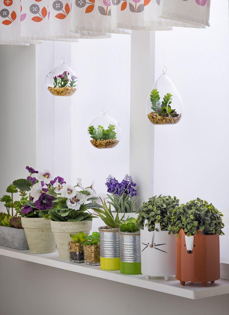 Macetas, floreros y terrarios para agregar un toque verde a tu hogar.  Otoño - Invierno 2016