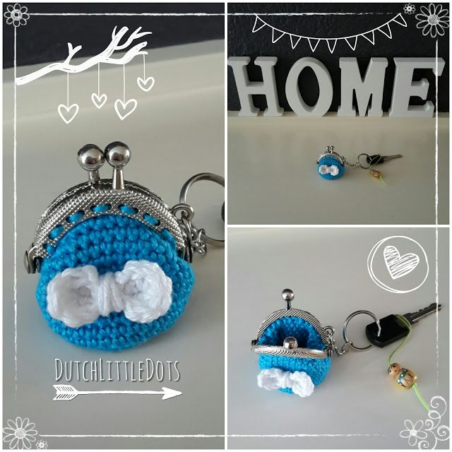 DutchLittleDots - Irene Haakt gehaakte sleutel hanger mini portemonnee portomonnee sleutelhanger gehaakt  met strik strikje haken, crochet keychain wallet key chain crocheted bow