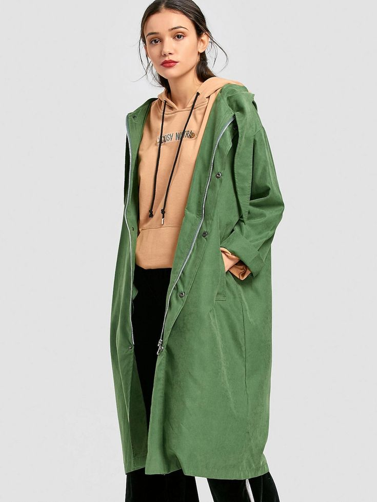 Snap-button Hooded Trench Coat GRASS GREEN: Jackets & Coats L | ZAFUL