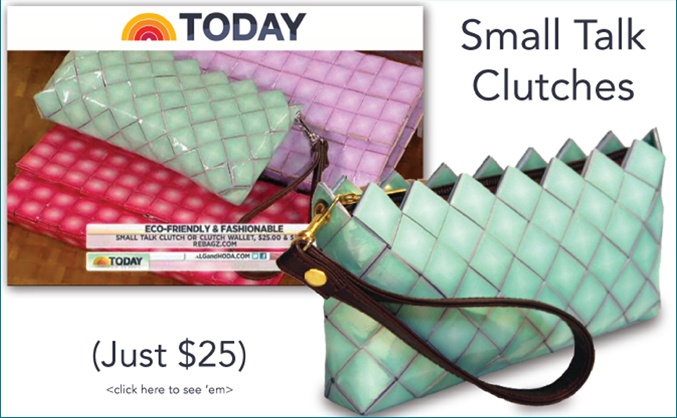 As Seen on The Today Show!  Our Small Talk Clutches hold your cell, keys, cash, makeup, and cards. Did I mention they're only $25?