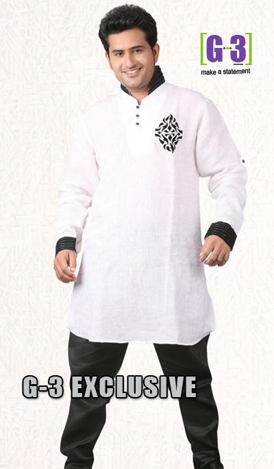 G3 fashions White Linen Short Pathani Kurta  Product Code : G3-MSP1026 Price : INR RS 2775