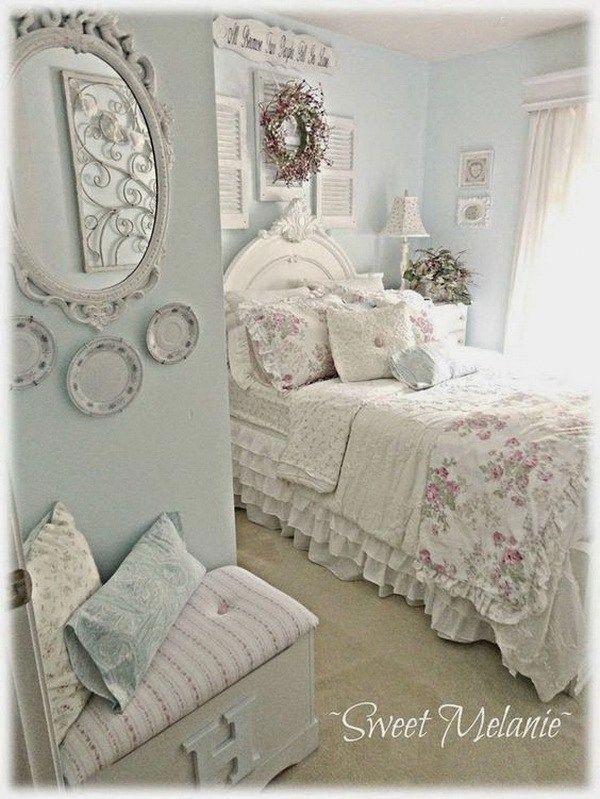 Shabby Chic Blue And Creamy White Bedroom Shabbychicstyledecor