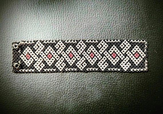 Huichol mexicano pulsera unisex negro perla y plata con