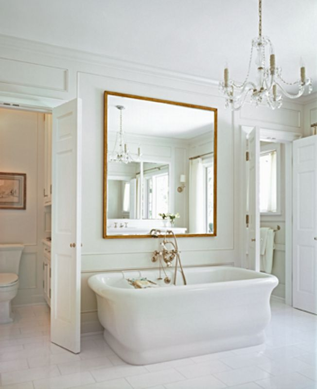 Master Bath | Neutral bathrooms | murano chandelier
