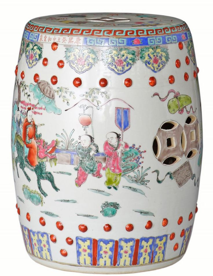 Very Pretty Famille Rose Garden Stool With Umbrella Child