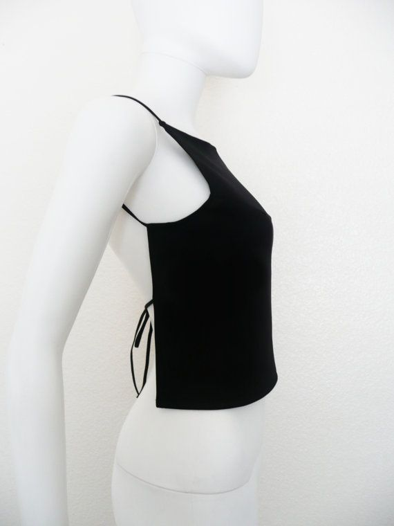 Solid Black Backless Black Tie shirt / open by DEEEPWATERVINTAGE 90s top black
