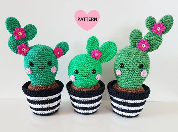 Cactus Friends PDF Pattern amigurumi by SuperCuteDesignShop