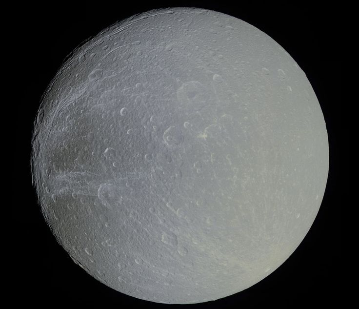 Saturn's Moon Dione in Slight Color   Image Credit: NASA, JPL, SSI, ESA; Post Processing: Marc Canale