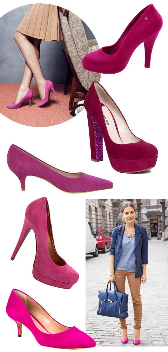 coco+kelley |: Pretty In Pink, Fall Wins, Great Outfits, Pink Heels, Pink Pumps, Fuchsia Pink, Pink Shoes, Fall Coco Kelley, Glitter Under Heels
