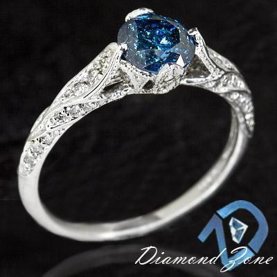 1.18 CARAT NATURAL BLUE DIAMOND VINTAGE ENGAGEMENT RING ART DECO STYLE BASKET