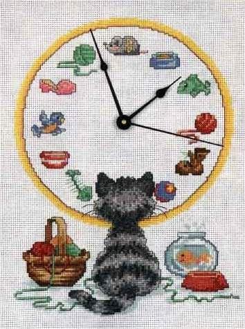Schema punto croce Orologio Gatto Curiosone 1a