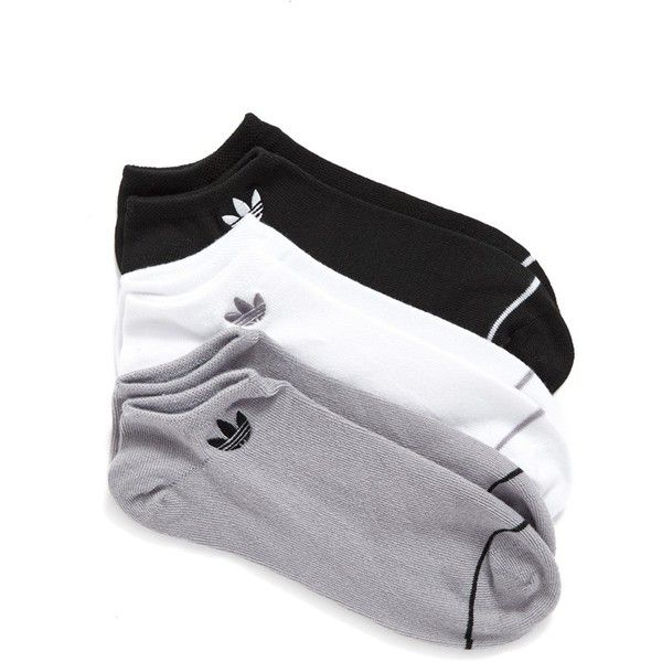 Women's Adidas Superlite 3-Pack No-Show Socks ($15) ❤ liked on Polyvore featuring intimates, hosiery, socks, black, adidas and adidas socks