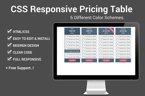 Css Responsive Pricing Table By Design Master On Creativemarket