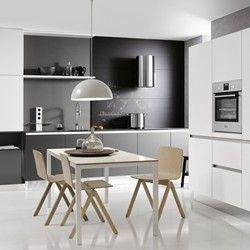 Cuisine design en verre satiné blanc et gris quartz GLASS TEC SATIN 17Q/17W - Porto Venere