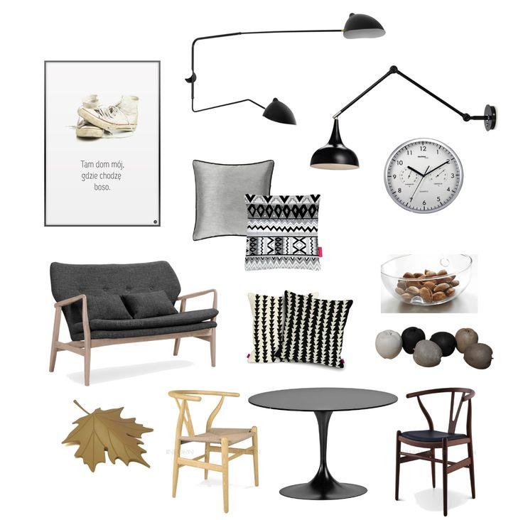 produkty do skandynaawskiej aranżacji,plakat z butami,typografia z hasłem,czarne kinkiety z wysięgiem,skandynawskie lampy,okrągły śienny zegar,srebrny zegar,biało-czarne poduszki,skandynawskie wzory poduszek,dreniana ławka,drewniana sofa w szarej tapicerce,drewniane jabłka,francuskie dekoracje,szklana misa z orzechami,liść brązowy,podpórk pod drzwi,ozdobna blokada drzwi,krzesła TON,giete drewniane krzesła,nowoczesne czarne krzesło z drena,skandynawskie wzory krzeseł,skandynawskie…