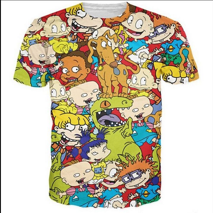 2016 New Fashion Womens/Mens Cartoon Rugrats funny 3D Print Casual T-Shirt CK155