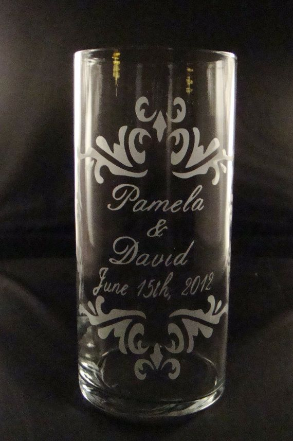 Wedding Unity Candle Vase - Personalized Etched Glass Candle Vase w/ Floating Candle on Etsy, $28.95