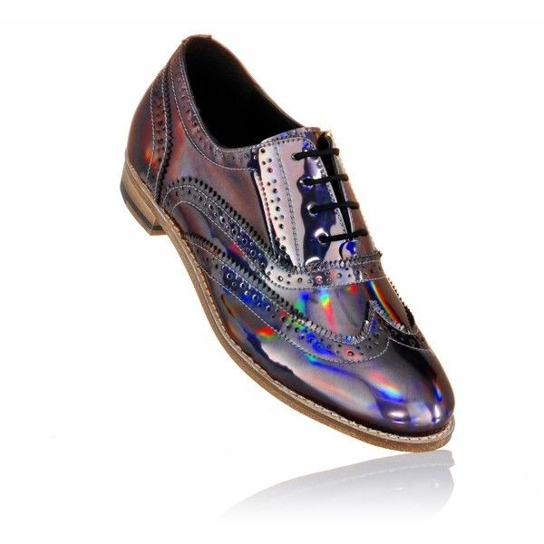 Lady's Brogue Shoes With Holographic Finish Luke Grant-Muller ($535) ❤ liked on Polyvore featuring shoes, oxfords, holographic shoes, balmoral oxfords, brogue oxford, holographic oxfords and balmoral shoes