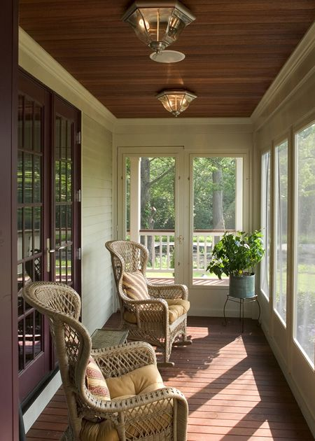 Beautiful enclosed porch...love the ceiling                                                                                                                                                                                 More