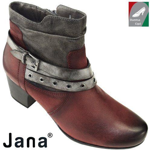 Jana női bőr bokacsizma 8-25330-29 549 bordó