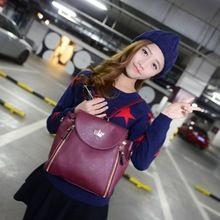 Llano bolsas escuela 2015 nuevo cuero de la PU del Color del caramelo doble corona cremallera moda mochilas lindo universitarios Bolsa Universitaria(China (Mainland))