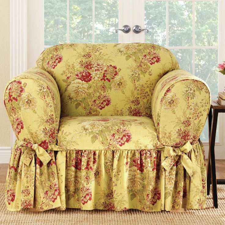 Sure Fit Ballad Bouquet 1 Piece Skirted Chair Slipcover (Chair, Robin's EGG), Blue (Floral)